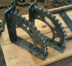 how can I fake this look with cheap lightweight materials. hummmm CBR 600 shelf brackets by MotoMetalFab on Etsy, Metal Projects, Welding Projects, Metal Crafts, Woodworking Projects, Car Part Art, Automotive Decor, Welding Art, Wood And Metal, Blacksmithing