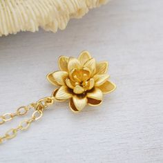Gold lotus necklace symbolic flower pendant on a dainty gold gold lotus flower necklace 14k gold filled by twistedsilverdesign mozeypictures Choice Image