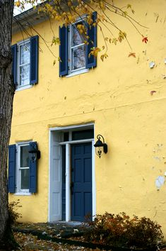 yellow house, blue door, white trim and shutters