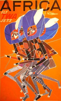 American illustrator, David Klein (1918-2005), created numerous travel posters for Howard Hughes' Trans World Airlines (TWA) in the 1950s and 1960s. His posters use eye-popping colors, iconic landmarks, and scenic images to advertise global travel.