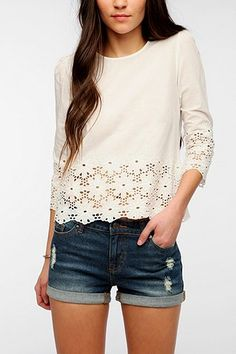 Dolce Vita Rosie Leigh Eyelet Top from Urban Outfitters. Saved to My Closet. Looks Style, Style Me, Summer Outfits, Cute Outfits, Eyelet Top, Spring Summer Fashion, Summer 3, Cute Shirts, Passion For Fashion