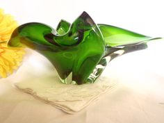 Murano serving bowl  vintage mid century  by Dupasseaupresent, $19.23