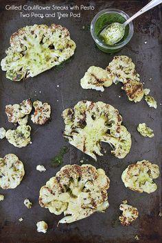 Grilled Cauliflower Steaks with Pesto--A healthier take on steak.