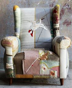 When you say patchwork the first thing that comes to mind is Grandma's patchwork quilt. While vintage quilts are lovely, the patchwork I a. Funky Furniture, Upcycled Furniture, Painted Furniture, Furniture Design, Patchwork Chair, Cool Chairs, Wingback Chair, Shabby Vintage, Vintage Quilts