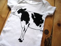 Screen Printed American Apparel Dairy Cow Baby Onesie (You Pick Size) - Eco Friendly and Awesome Baby One Piece. $12.00, via Etsy. Good for shower gift!!!