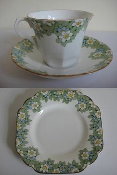 Melba Bone China 1930s Tea Cup Trio, Art Deco Shape, White and Blue Flowers. http://stores.ebay.co.uk/prettyantiquescollectables