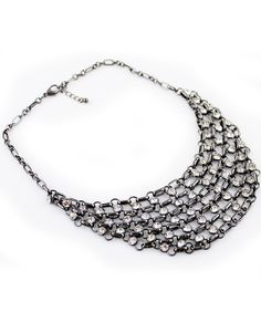 Retro Silver Crystal Chain Necklace US$7.67
