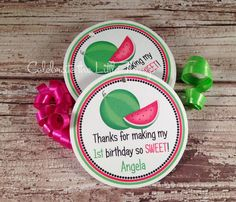 12 WATERMELON Favor Tags or Stickers by CelebrateLilThings on Etsy, $6.00