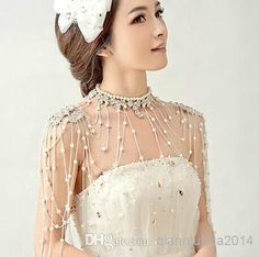 Elegant Wedding Bridal Party Ladies Crystal Rhinestone White Pearls Silver Flowers Long Full Body Shoulder Chain Belly Necklace Jewelry Gift Online with $57.6/Piece on Qianniuhua2014's Store | DHgate.com