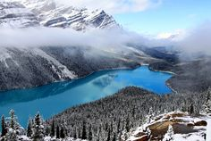 Peyto Lake (pea-toe) is a glacier-fed lake located in Banff National Park in the Canadian Rockies