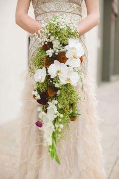 Oversize Orchid Wedding Bouquet / http://www.deerpearlflowers.com/cascading-wedding-bouquets/
