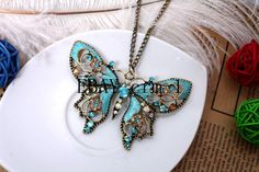 Buterfly necklace Accent Colors, Color Accents, Butterfly Necklace, Blue Butterfly, Turquoise Necklace, Pendant Necklace, Crystals, Etsy, Accessories