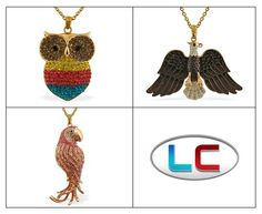 Liquidation Channel | Austrian Crystal Owl, Eagle, or Parrot Pendant with Chain in ION Plated Yellow Gold and Stainless Steel