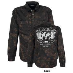 Overhemd van Rock Rebel by EMP:  - twee borstzakken met drukknoop en een kleine extra zak - applicaties - grote, geborduurde schedel aan de achterkant - overhemdkraag - bovenste drukknoop met afdruk van schedel - batik look - epauletten  Wie zei dat batik uit de mode is? Dat geldt in ieder geval niet voor dit overhemd van Rock Rebel by EMP! Het
