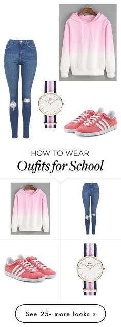 """school"" by azeneth10 on Polyvore featuring Topshop, adidas Originals, Daniel Wellington, women's clothing, women, female, woman, misses and juniors"