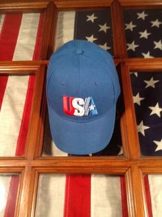 USA Hat Cap United States Of America Baby Blue Velcro Back Star Adult One  Size   0332f1851045