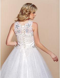 Ball Gown Wedding Dress - Ivory Floor-length Scoop Organza – USD $ 99.99