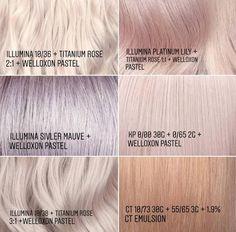 Hair Color Guide, Hair Color Formulas, Pastel Hair, Pink Hair, Metallic Hair Dye, Wella Illumina Color, Hair Color Wheel, Hair Colour Design, Hair Toner