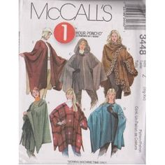McCall's Patterns M3448 Misses' Ponchos  by McCall's Patterns