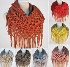 Nsstar Women Winter Warm Crochet Knit Long Tassels Soft Wrap Shawl Scarves Scarf Two Styles Infinity and Straight with Free Gift Coffee Cup Mat Color Random Sewing Scarves, Crochet Scarves, Crochet Shawl, Diy Crochet, Knitting Scarves, Diy Scarf, Loop Scarf, Scarf Wrap, Scarf Knit
