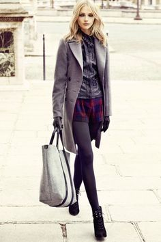 colors and concept, yes, change details to suit personal style! grey wool coat, plum plaid shorts, grey leggings with booties. and gloves.... love it.