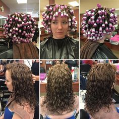stacked spiral perm on short hair Medium Permed Hairstyles, Short Permed Hair, Asymmetrical Hairstyles, Perm Vague, Medium Hair Styles, Curly Hair Styles, Body Wave Perm, Curly Perm, Spiral Curls