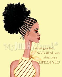Natural For Life- African American Afro Puff Cornrow Natural Hair Print. $18.00, via Etsy.