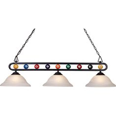 Westmore Lighting�50-in 3-Light Billard Black Kitchen Island Light with Alabaster Swirl Glass Shade