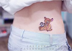 Uber-cute Bambi and Thumper Disney characters, done on girls hip / back.
