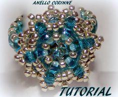 """TUTORIAL ANELLO """"CORINNE"""" con twin ,rocailles, cristalli e chaton Maxima..."""