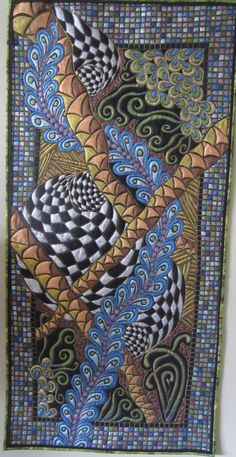 Award winning --Quiltangle #12 --Zentangle inspired art quilt--free motion quilted and painted