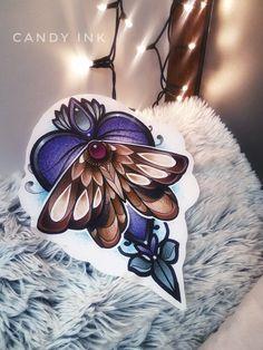 #neo #traditional #moth #tattoo #design #heart