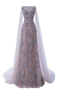 The Dawn Chorus Tulle Gown by HAMDA AL FAHIM for Preorder on Moda Operandi, features layered tulle with full embroidery of leaves and birds with a boat neckline, sheer tulle open sleeves and a bias insertion at the back. Evening Dresses, Prom Dresses, Formal Dresses, Formal Evening Gowns, Formal Gowns With Sleeves, Couture Dresses Gowns, Evening Gowns With Sleeves, Bridesmaid Dresses 2018, 1950s Dresses