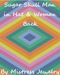 Sugar Skull Woman or Man in Hat Back Word Map & Chart | Bead-Patterns