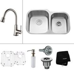 KRAUS, All-in-One Undermount Stainless Steel 32x20.63x14.9 in. 0-Hole Double Bowl Kitchen Sink with Satin Nickel Accessories, KBU24-KPF2220-KSD30SN at The Home Depot - Mobile