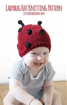 Little Ladybug Hat Knitting Pattern for babies! | littleredwindow.com