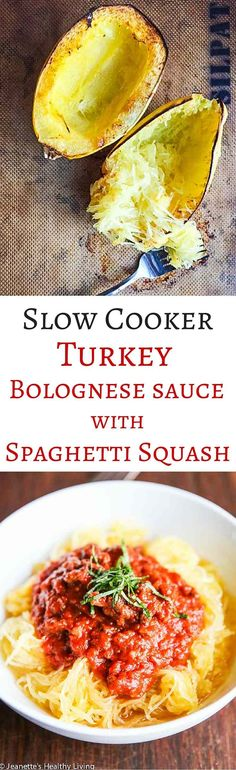 Healthy Slow Cooker Turkey Bolognese Sauce with Spaghetti Squash - this low carb meal is the perfect comfort food ~ http://jeanetteshealthyliving.com