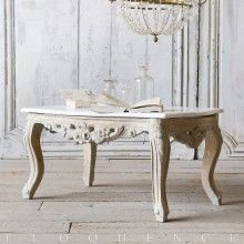 Eloquence® 1940 Vintage Louis XV Old Gilt Washed Pale Gray Coffee Table