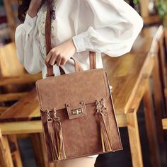 Retro Frosted Tassels Flap Square PU Street Style Multifunction Shoulder Bag Backpack