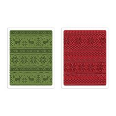 Sizzix - Tim Holtz - Alterations Collection - Christmas - Texture Fades - Embossing Folders - Holiday Knit Set 660043