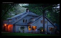 Whispering Pines Main Lodge at night.  #wpinescc  #reception #dinner