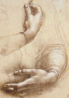 Leonardo da Vinci - hands, silverpoint drawing with white chalk accents. Italian Renaissance Art, Renaissance Kunst, High Renaissance, Renaissance Paintings, Life Drawing, Figure Drawing, Painting & Drawing, Basic Drawing, Drawing Skills