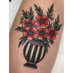 Flowers and striped vase Blair Maxine Hewitt, Australia