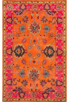 Nuloom SPRE21A-960136 Remade Collection Orange Finish Hand Tufted Montesque