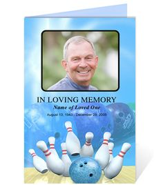 Funeral Order of Service Template Design Layout Programs : Any Occasion Bowling Themed Templates, fully editable in Word, Publisher, Openoffice, and Apple iWork Pages. Available in Blue (shown), Green, and Yellow.