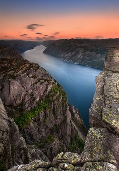Lysefjord, a fjord located in Forsand in Ryfylke in south-western Norway. The name means light fjord, and is said to be derived from the lightly coloured granite rocks along its sides.