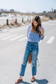 Casual spring outfit / AYR jeans, stripe button down and leather slides