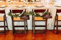 Chair garland & signs
