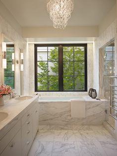 Suzie Janof Hald Architecture Gorgeous Bathroom Design With Gl Link Chandelier White Love The Picture Window
