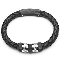 Basic-Silver-SW-340-Black-Leather-Mens-Bracelet-Stainless-Steel-22-CM